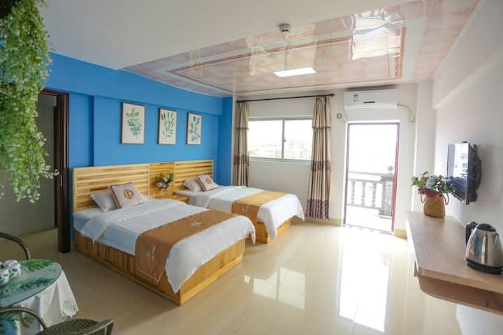湄洲岛蓝海阳台观景双床房(码头接送,双人自行车免费骑)