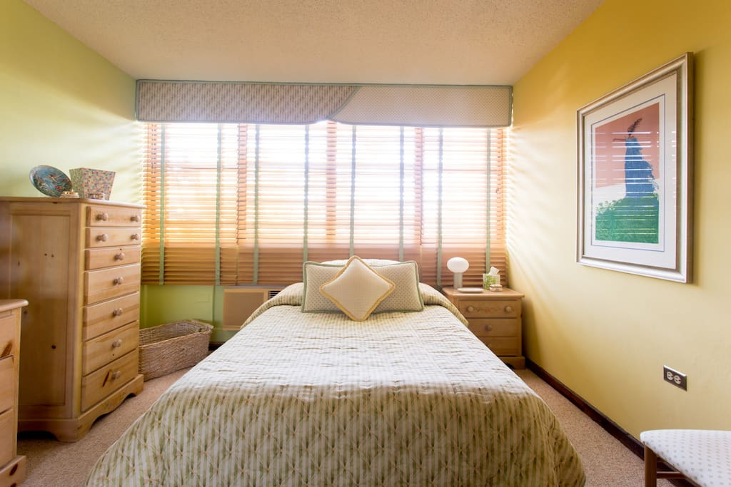 Spacious room with full bed, ample storage, and desk/chair.