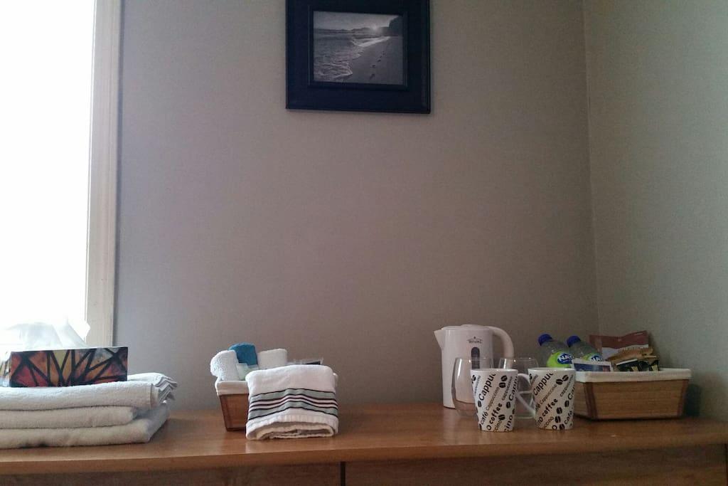 Complimentary snacks, teas and toiletries.