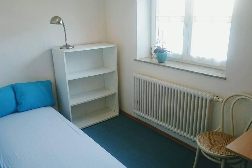 Ruhiges Zimmer mit Schlafcoach, Regalen, Tisch und Schreibtischstuhl