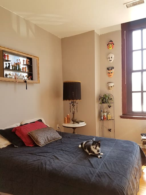 retro-kitsche private bedroom, cat included