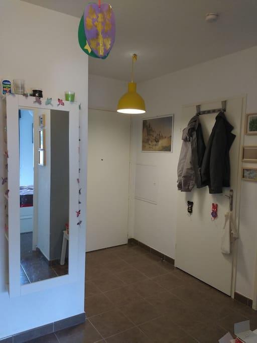 Entrée, porte principale au fond, toilettes, meuble miroir/rangement.