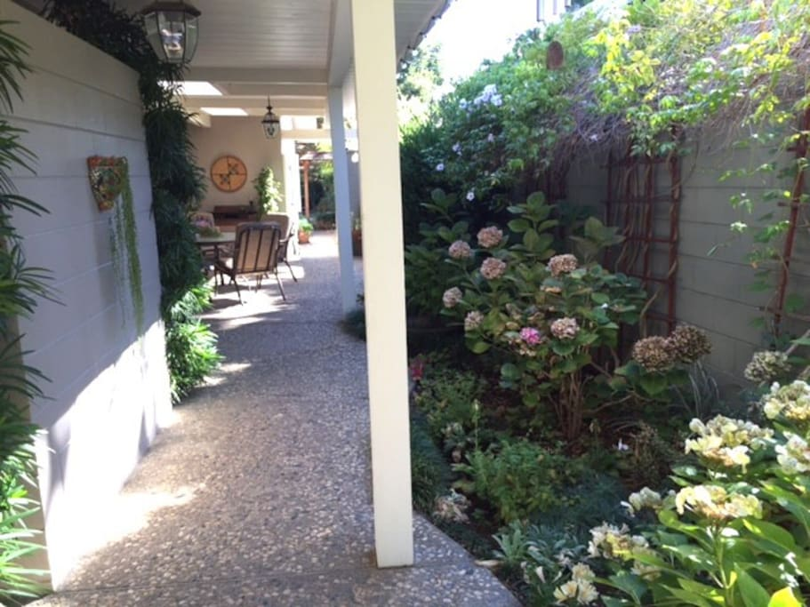 Slow down and relax as you enter the serene courtyard garden.