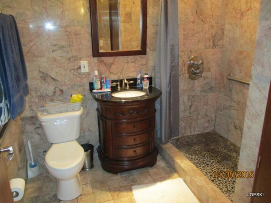 marble shower with pebble floor in shower, large toilet, small sink