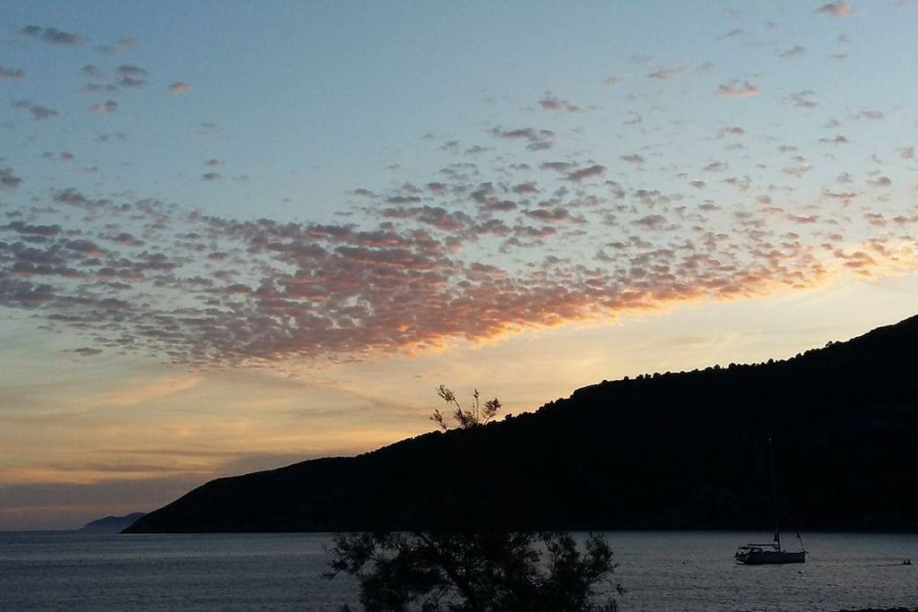Sunset at Komiza's bay, picture from the apartment!  Window view 1
