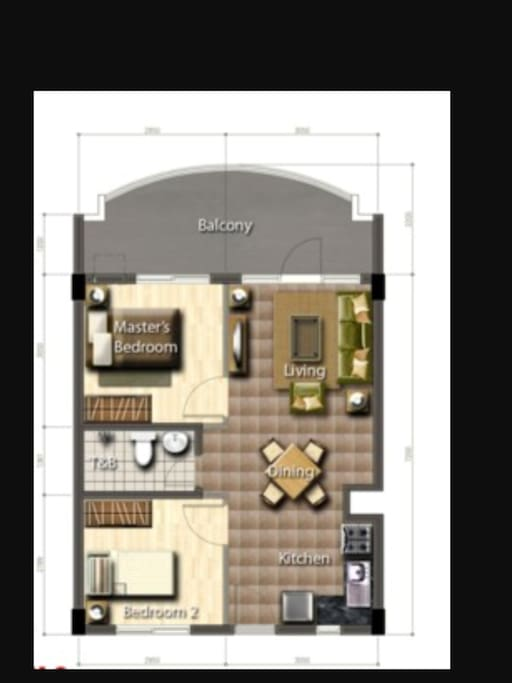 Living area, kitchen. Then two good size rooms.