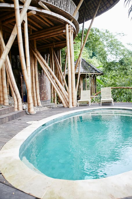 Private plunge pool on the decking in the garden