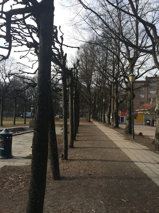 Park rett utenfor døren med busstopp i UMIDDELBAR nærhet.