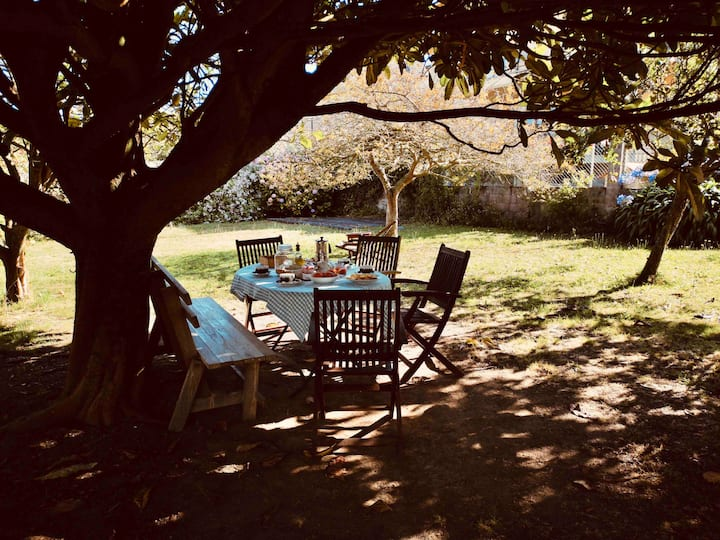 Casa céntrica con jardín.
