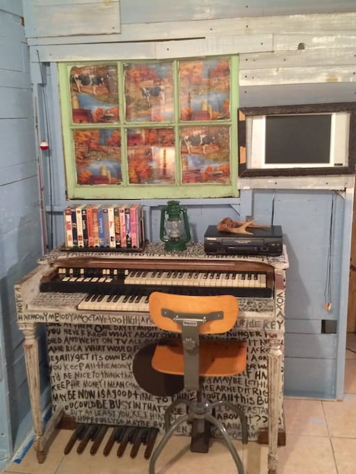Our hammond organ is in the cabin along with a small selection of VHS