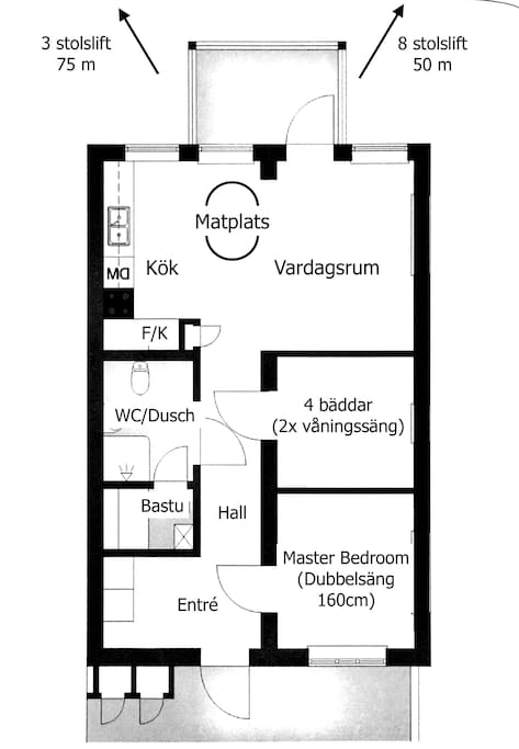 Smart planned apartment design for 6+2 ski guests.