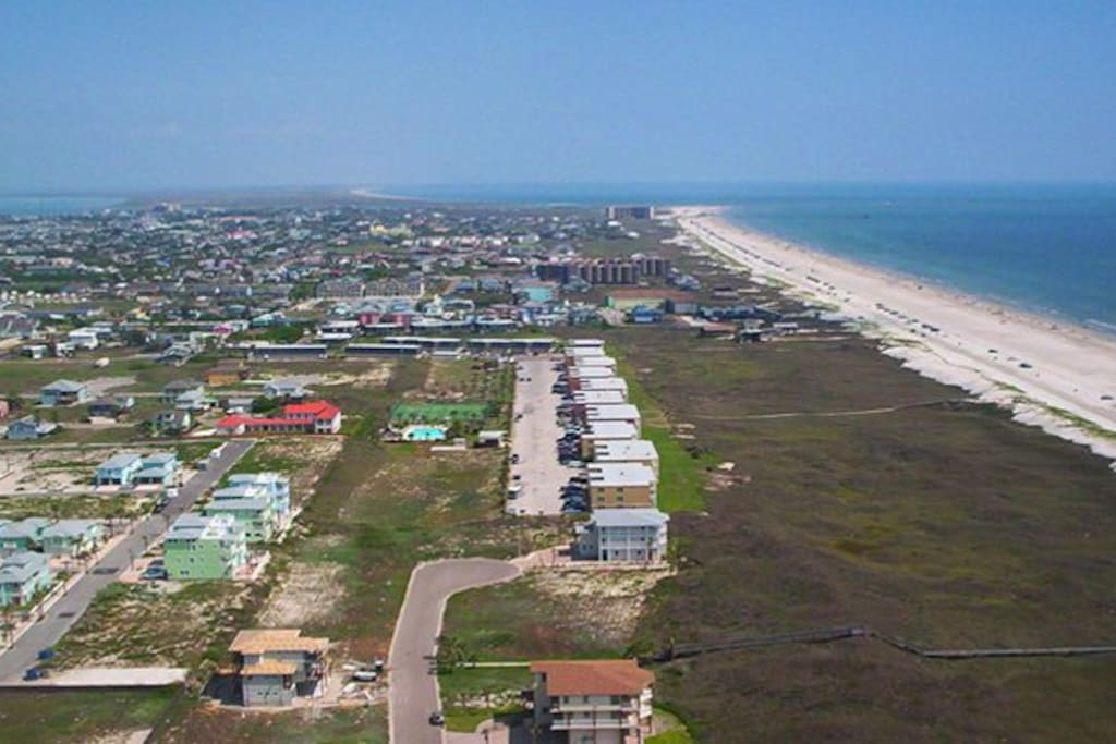 Aerial photo of Port Aransas and the Gulf of Mexico