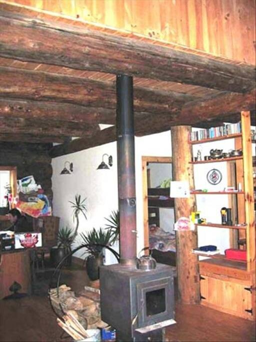 Woodstove which heats the house even in the cold of winter, we also have forced air back up.