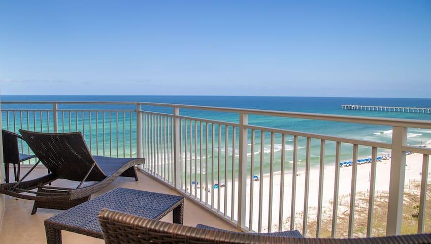 Wraparound West Balcony! Gulf Front Master 2/2 Luxury Condo located near Pier Pa