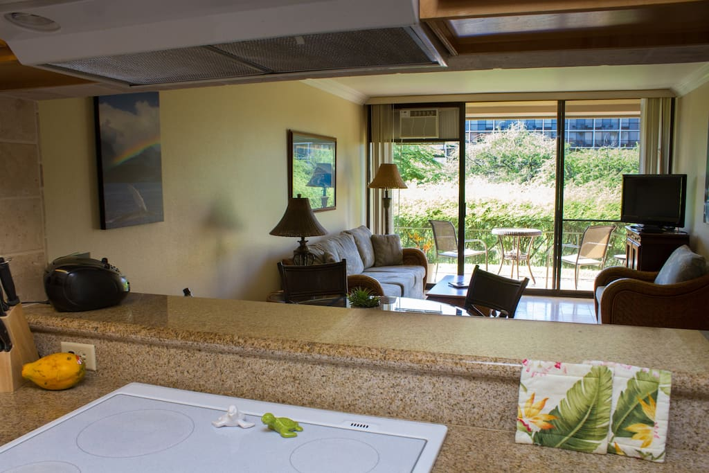 Open floor plan, beautiful granite counter tops, tropical paintings