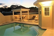 Pool and lounge area on our private rooftop.