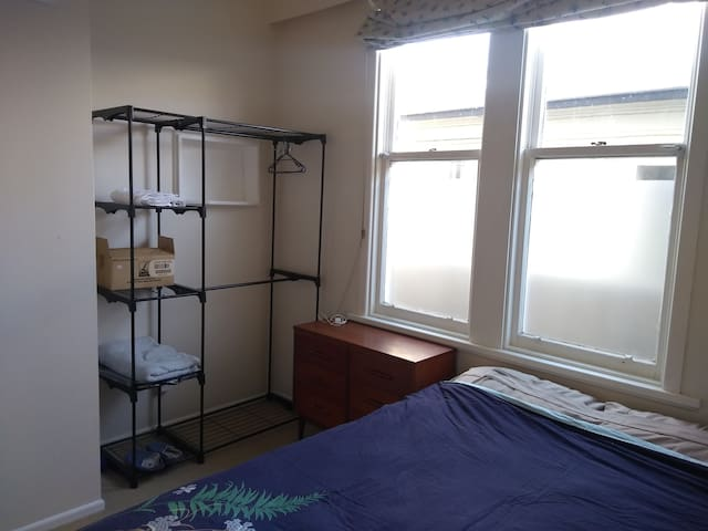 Bedroom has wardrobe space and drawers
