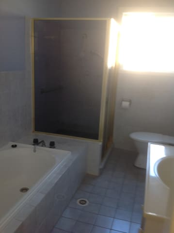 Bathroom has a shower as well as a bath.