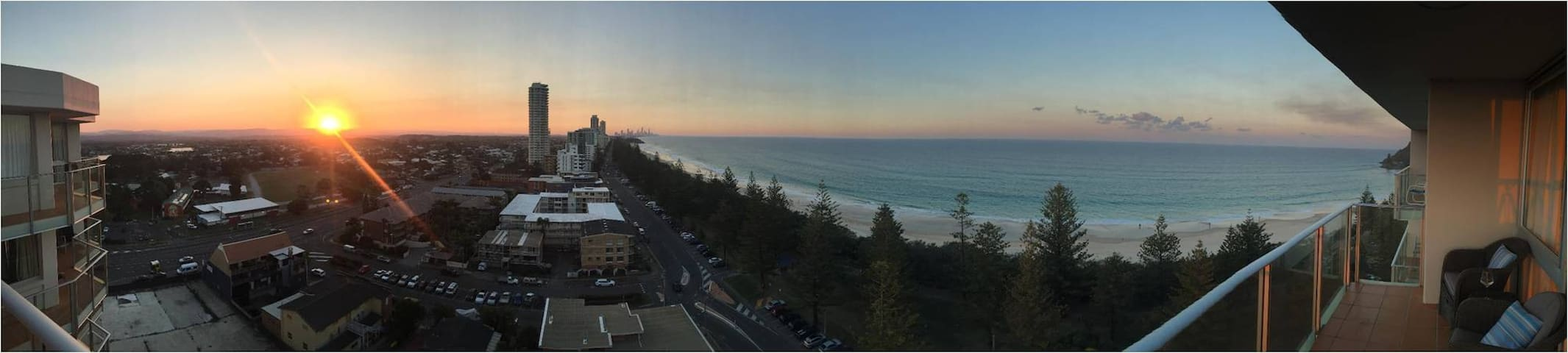 Panoramic view from the balcony at sunset