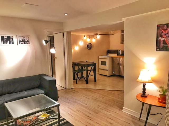 bright, newly-renovated 1-BR annex apartment