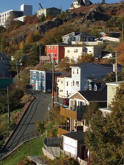 Battery houses nestled into the hillside