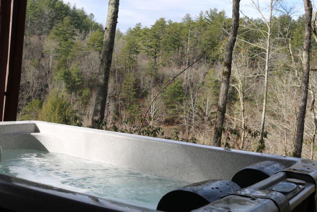 Terrace level hot tub