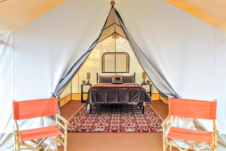 Glamping tent on Russian River near vineyards at Wildhaven Sonoma