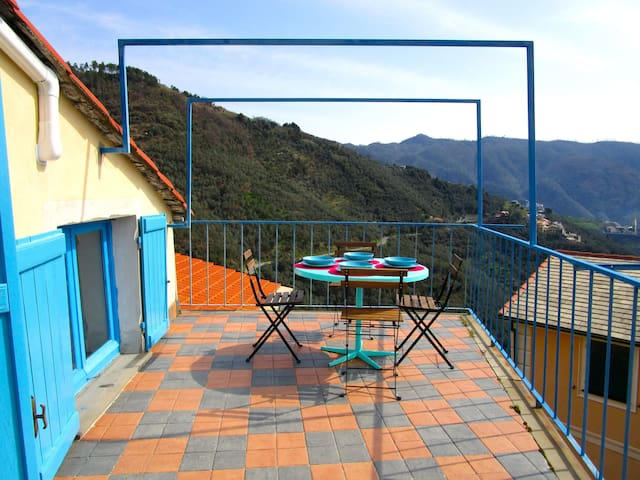 The Cinque Terre nest, with terrace and view