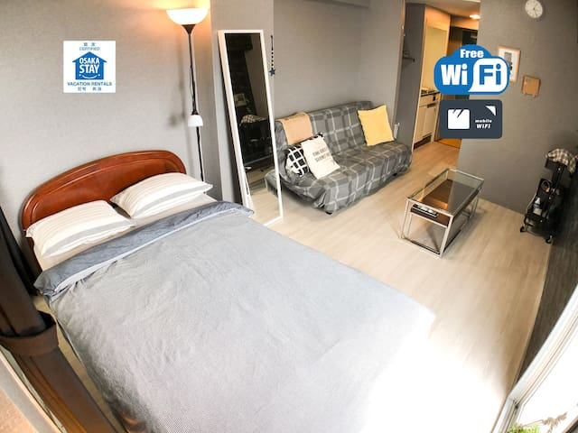 ☆Near NAMBA(5mins by train)☆Free WIFI☆208☆