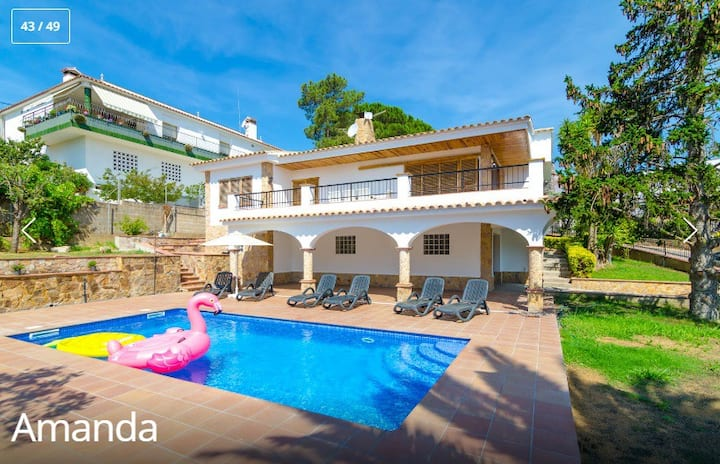 Villa Amanda Lloret with prívate Pool, A/C & Wifi