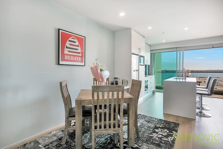 Open plan living area. Dining area, comfortably seats 4. The area give access to a nice balcony.