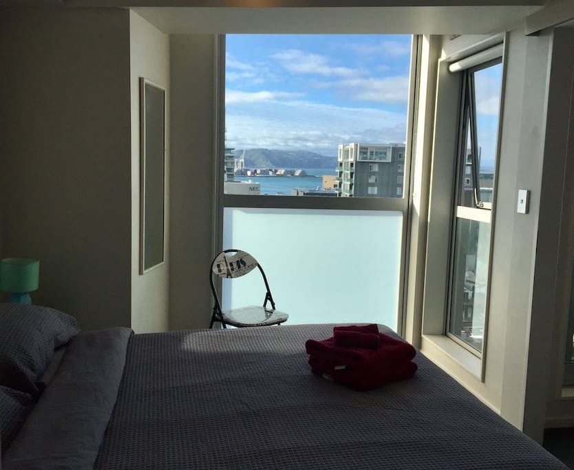 Wake up and enjoy the harbour view from the comfort of your cosy bed.