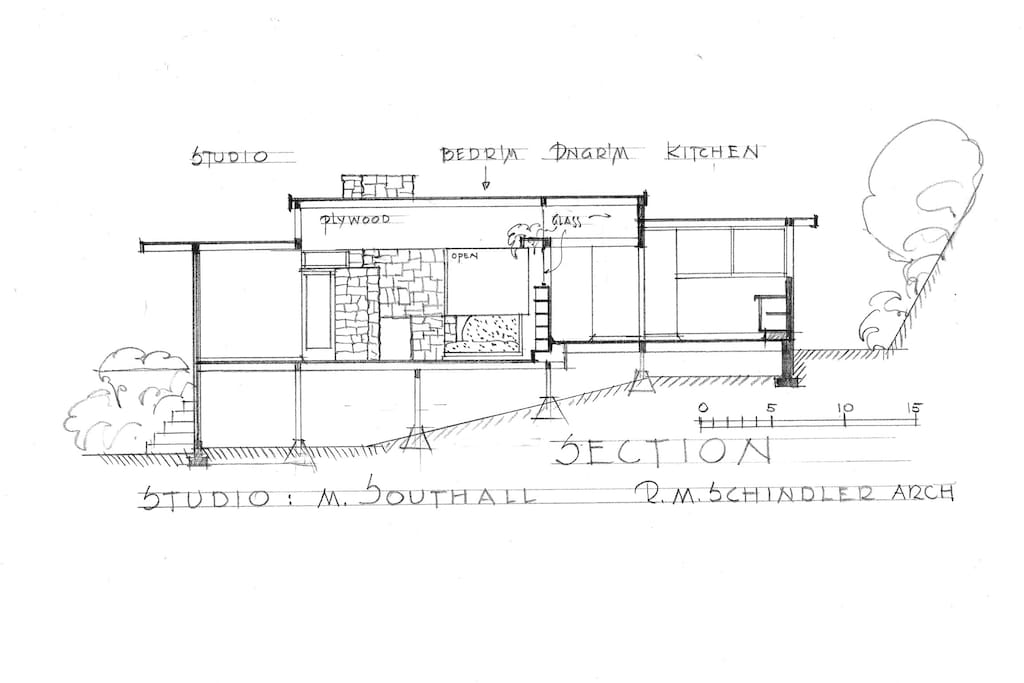 Architectural section for RM Schindler's Southall Studio, 1938.