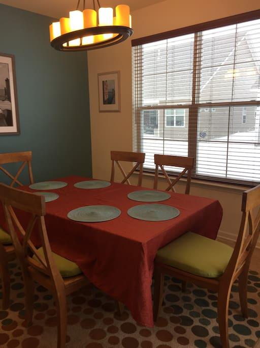 Dining room seats 6