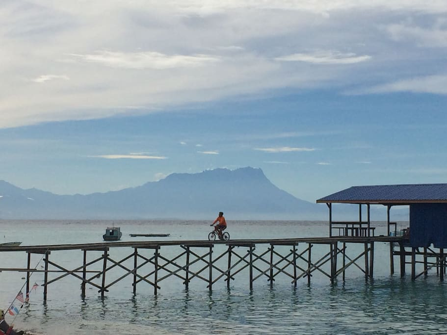 Morning view to Mount Kinabalu from Mantanani island