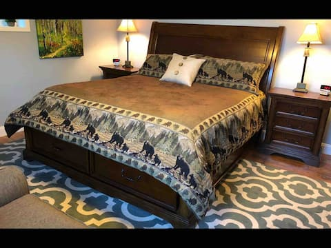 Comfortable country room with king size bed.