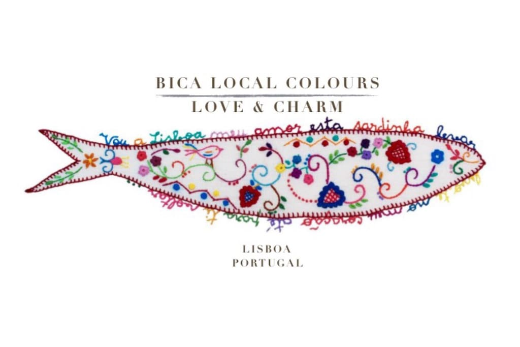 """Bica Local Coulors Love & Charm Card """"My Love, I'm going to Lisbon take this sardine. I take you in my heart, until to you return"""""""