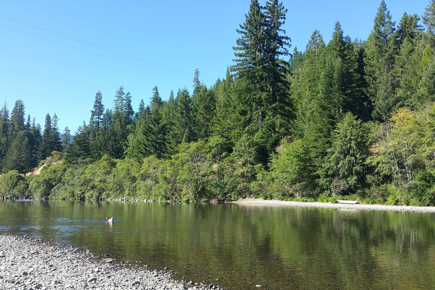 Private Eel River access, great swimming, kayaking, wading, rock skipping