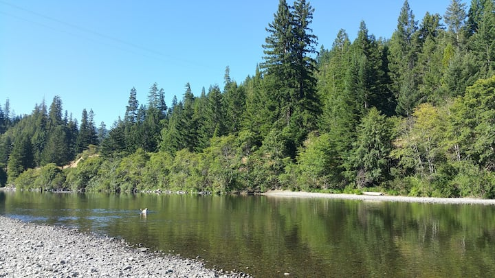 CAMP CABINS IN REDWOODS. RIVER FRONT ON 15 ACRES.
