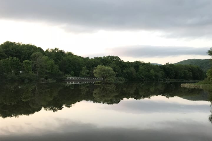 This is the view of our  lake in Halcottsville 100 feet away from the porch upstate . Take a canoe or kayak out or just walk around the lake it's super beautiful .