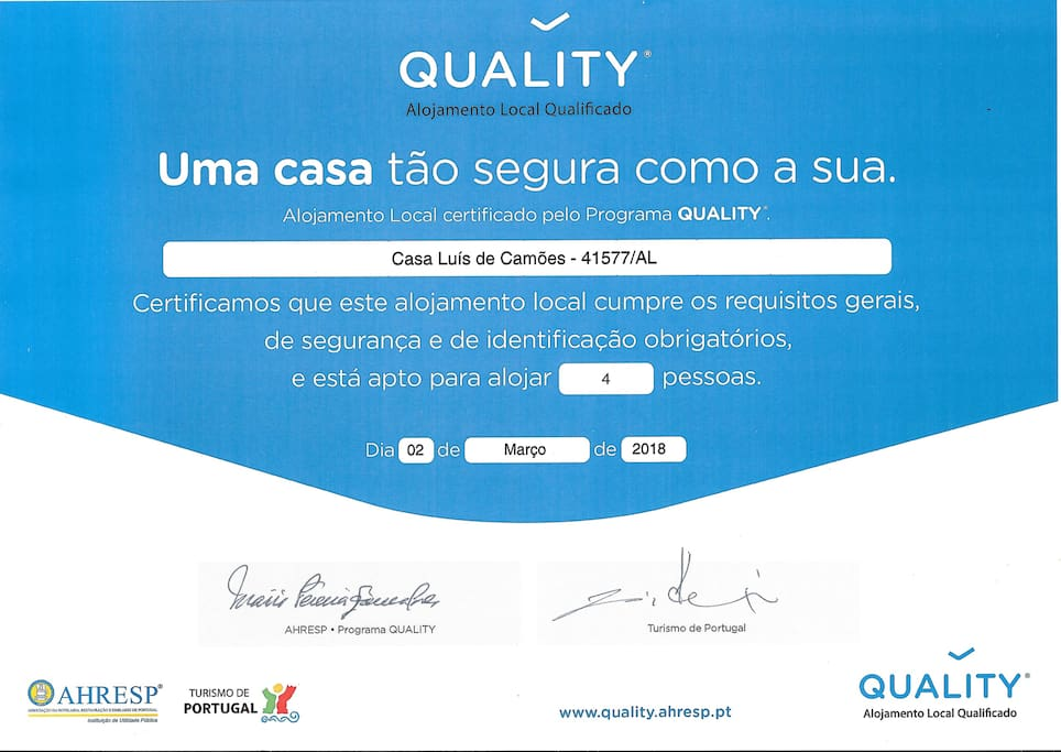 Certificado Quality | Local lodging certified by Programa Quality