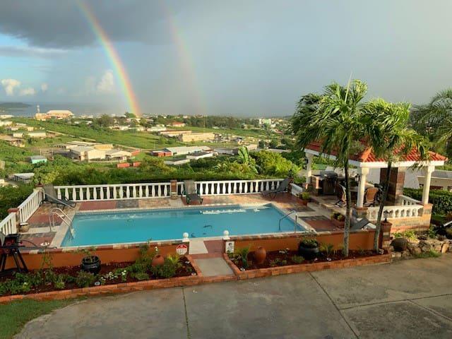 rainbow around the pool