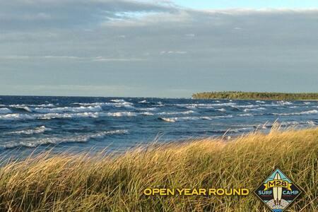 200 feet of sugar sand beach on Lake Superior