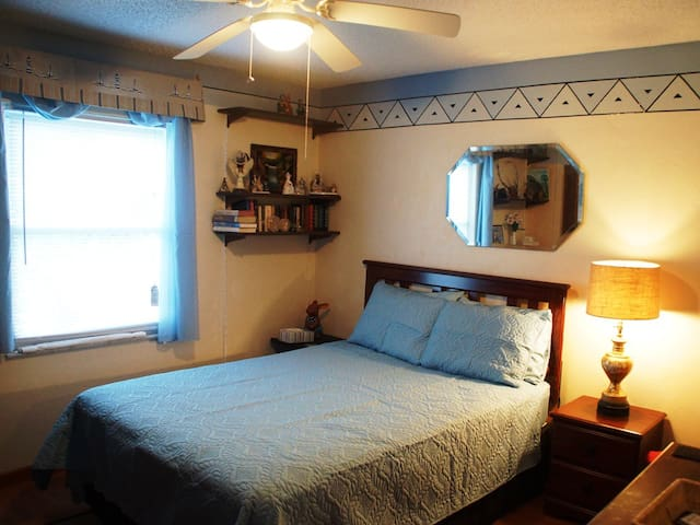 Your private bedroom with queen size bed and dressers, nightstand and closet for your use.