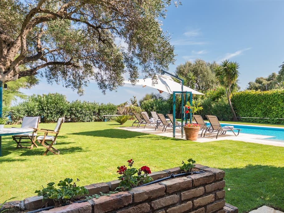 Large Private Garden and Pool area on the Barbati Seafront