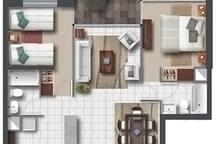 Plano de planta departamento 67 m2