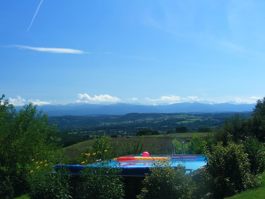Pool with view to mountains