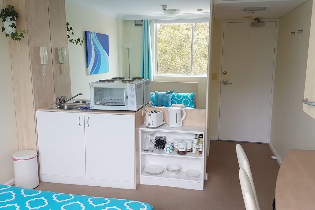 Kitchenette with all basics requirements for cooking