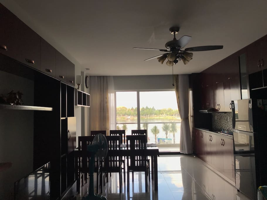kitchen and private balcony - lake view