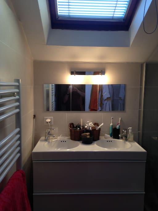 Salle de bain avec double vasque et douche à l'italienne .